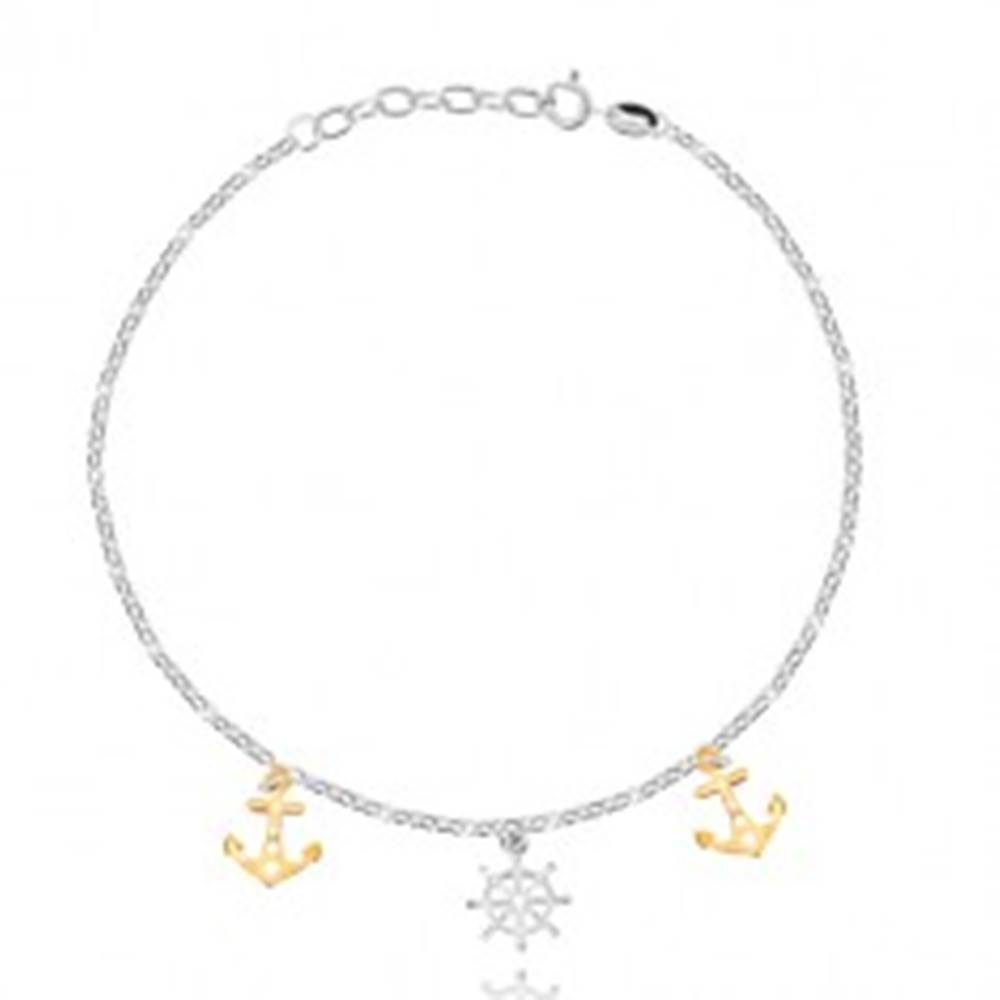 Šperky eshop Strieborný náramok na nohu 925 - lodné kormidlo, kotvy, oválne očká