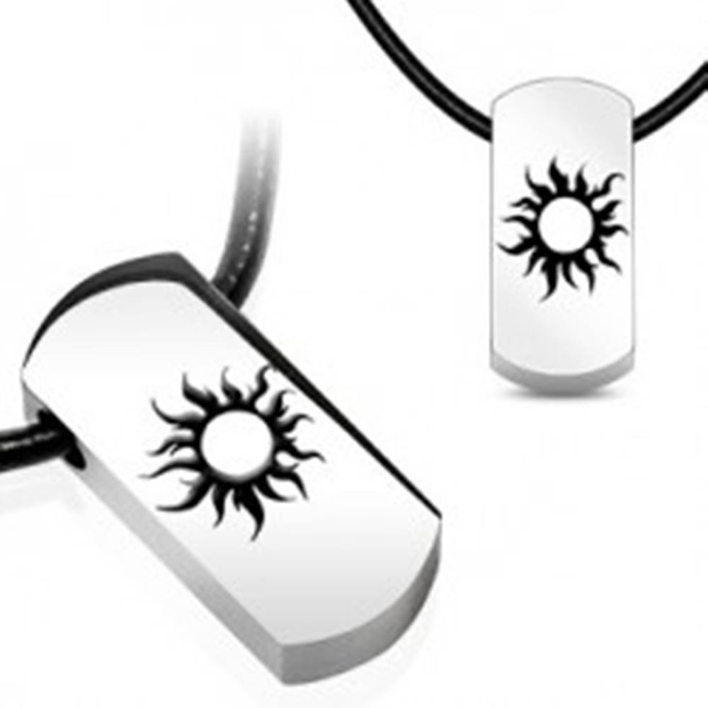 Šperky eshop Oceľový náhrdelník - slnko, čierna kožená šnúrka