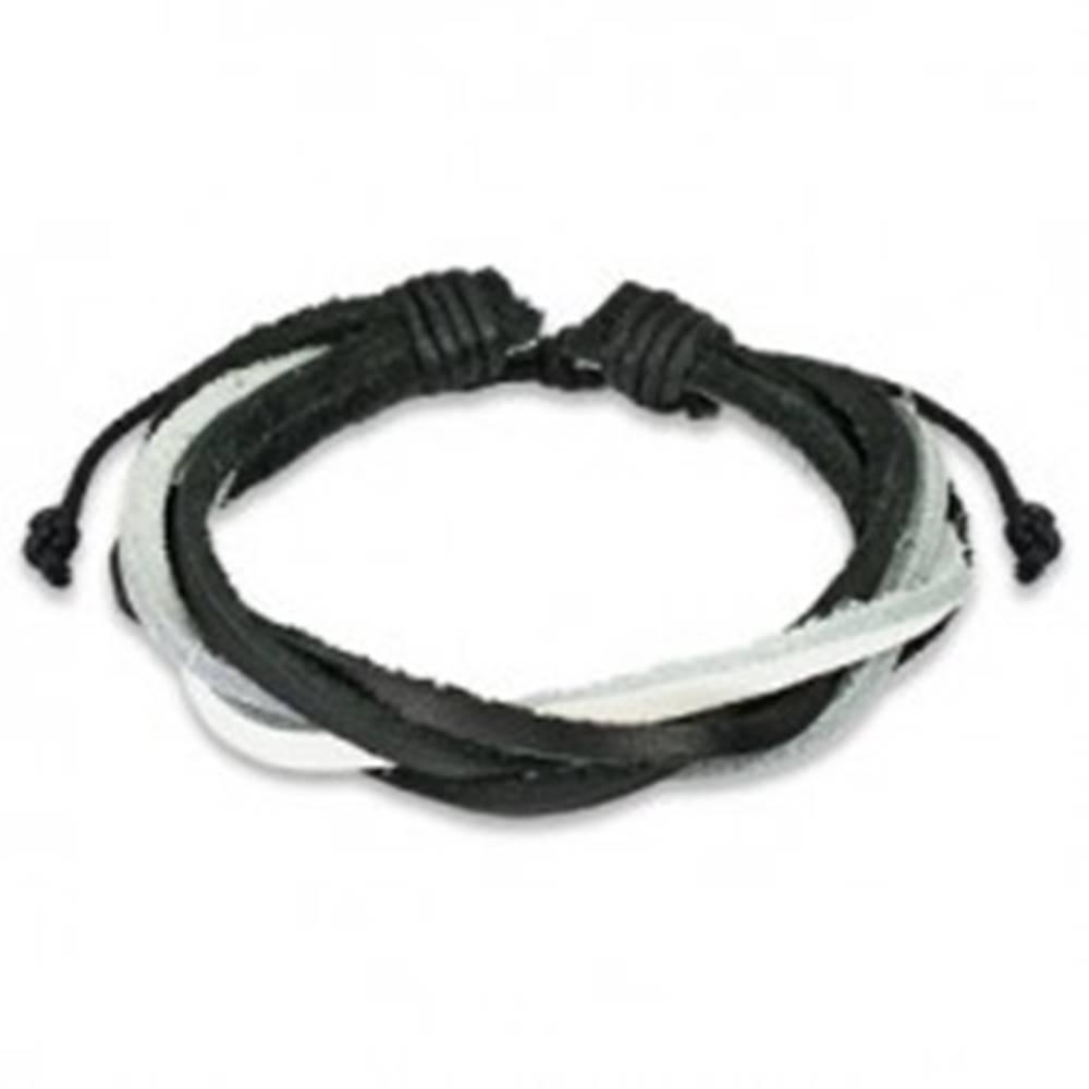 Šperky eshop Bielo-čierny pletený náramok z kože
