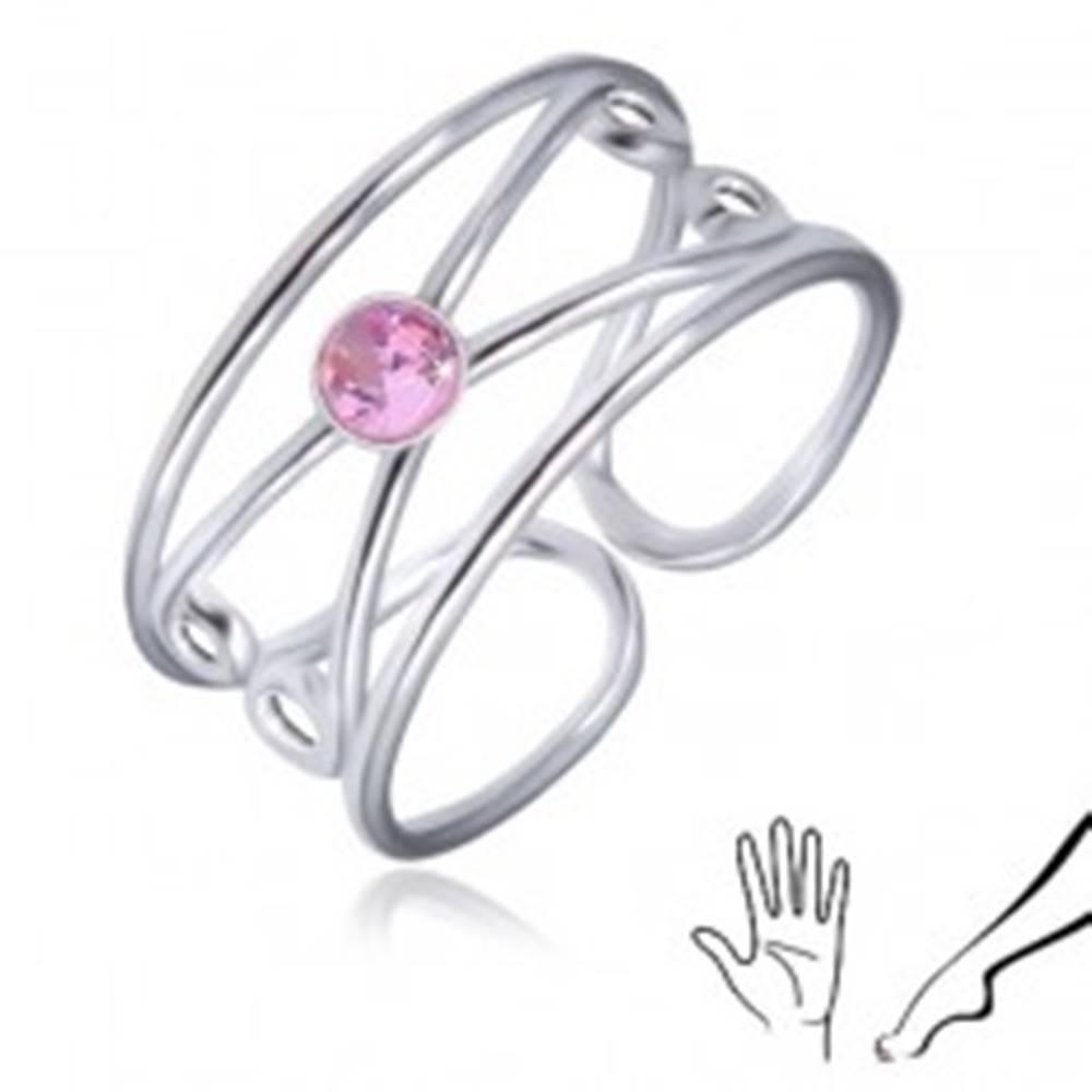 Šperky eshop Prsteň zo striebra 925 - okrúhly ružový zirkón, zdvojená slučka