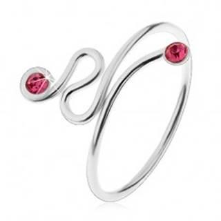 Nastaviteľný prsteň, striebro 925, točená línia, ružové zirkóny na koncoch