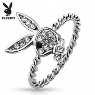 Prsteň striebornej farby, Playboy zajačik s čírymi zirkónmi a čiernym očkom - Veľkosť: 49 mm