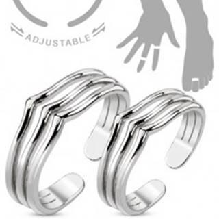 Sada prsteňov na ruku alebo na nohu, strieborná farba, tri línie so špicom - Veľkosti prsteňov: 45 a 52
