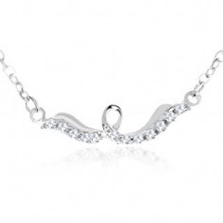Strieborný náhrdelník 925, lesklá stuha so slučkou, číre zirkóny