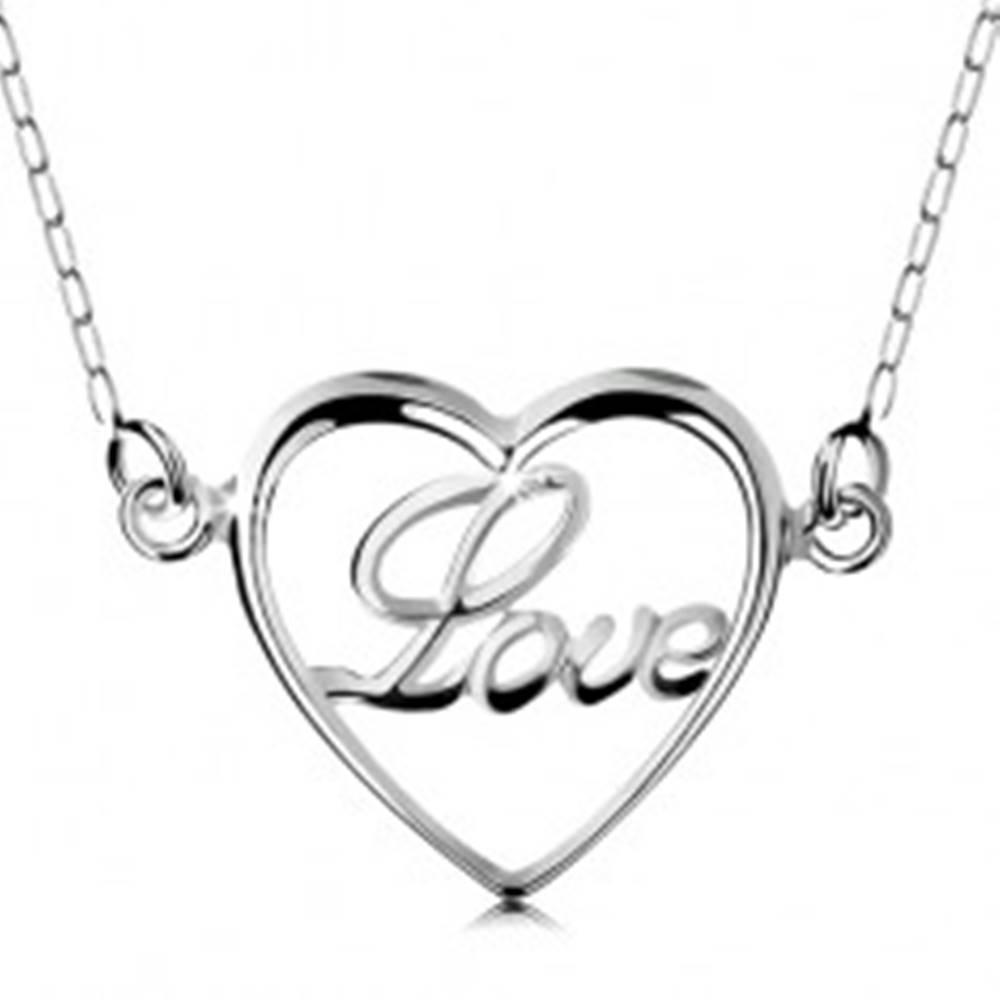 Šperky eshop Náhrdelník zo striebra 925, retiazka a prívesok - tenký obrys srdiečka, nápis Love