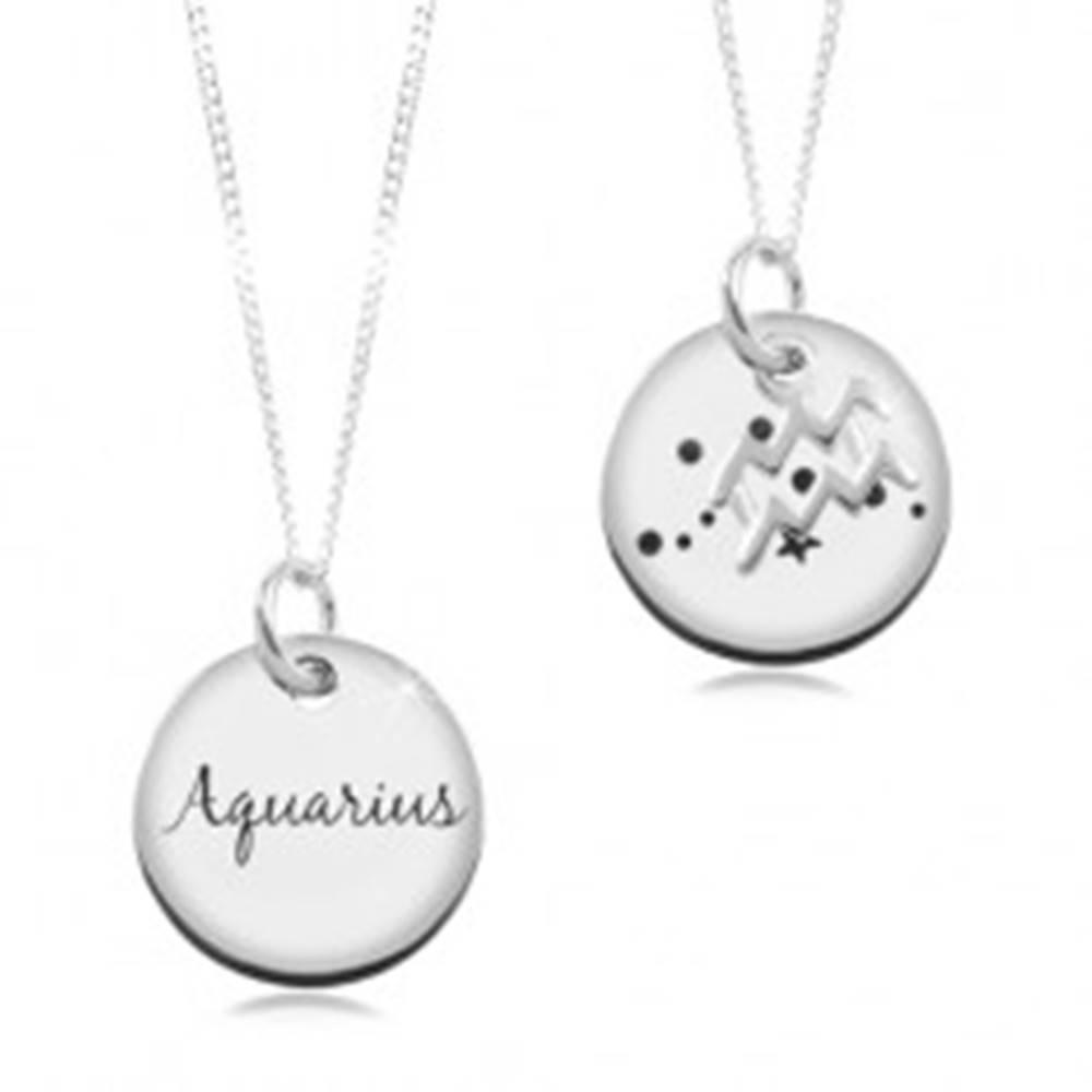 Šperky eshop Nastaviteľný náhrdelník, striebro 925, retiazka a okrúhla známka - znamenie VODNÁR