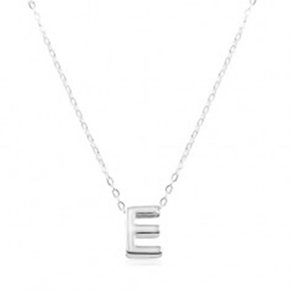 Šperky eshop Nastaviteľný náhrdelník, striebro 925, veľké tlačené písmeno E