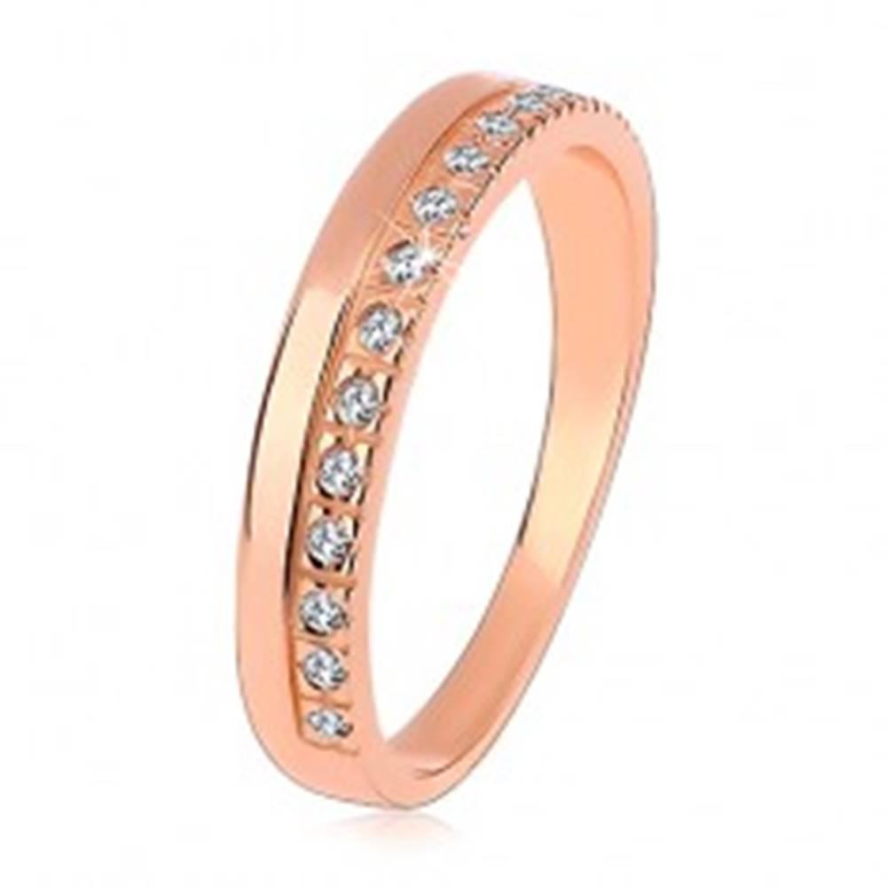 Šperky eshop Prsteň zo striebra 925 medenej farby, číra zirkónová línia, vysoký lesk - Veľkosť: 50 mm