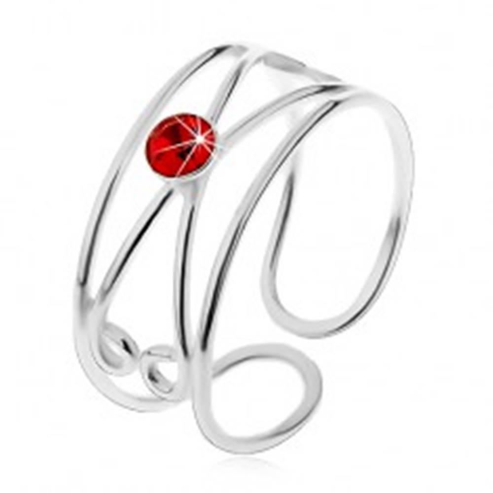 Šperky eshop Prsteň zo striebra 925 - okrúhly červený zirkón, dvojitá slučka, nastaviteľný