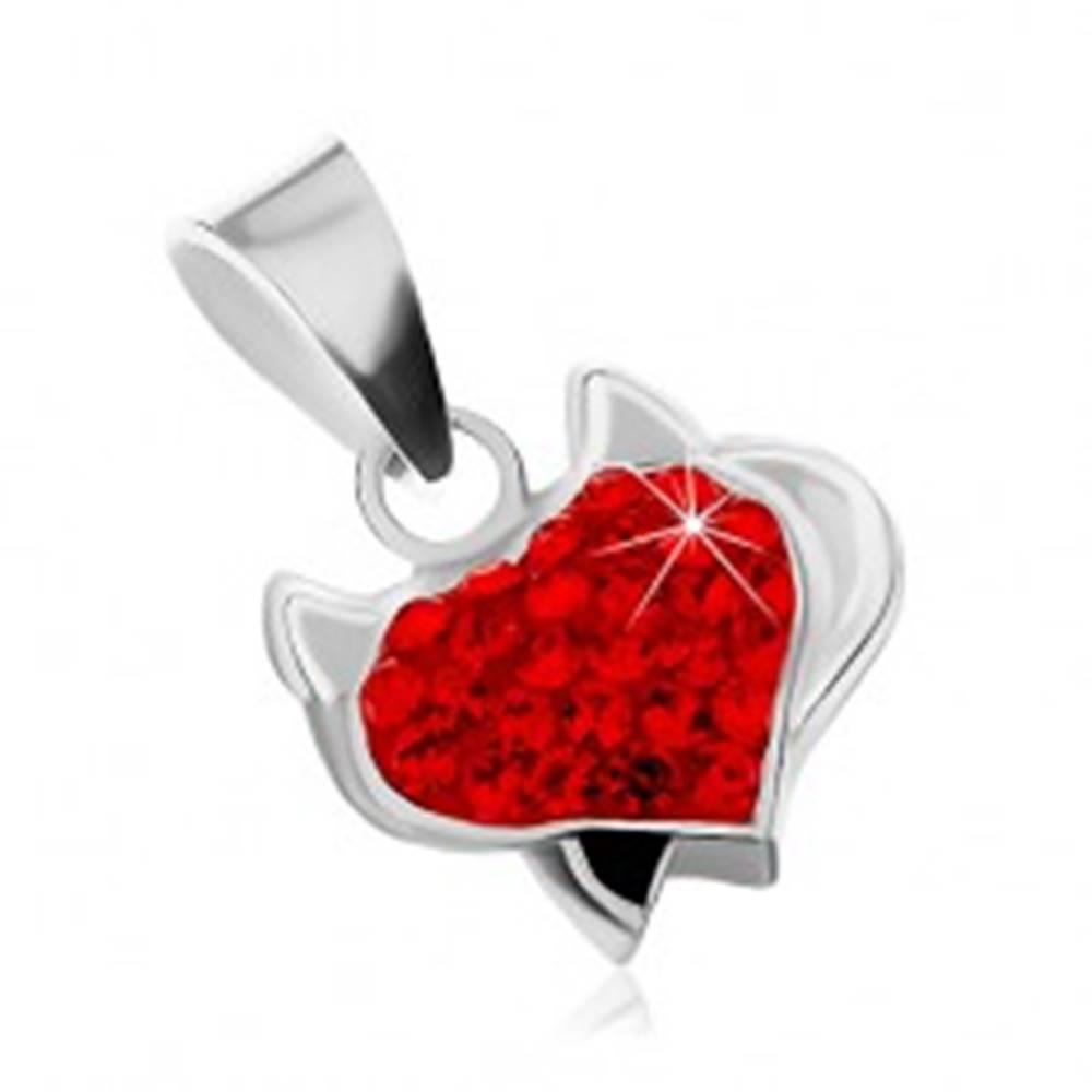 Šperky eshop Strieborný prívesok 925 - srdce s rožkami, čiernym chvostom a červenými zirkónmi