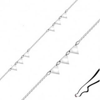Náramok na členok zo striebra - zrkadlovo lesklé trojuholníky, hranaté očká