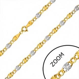Retiazka z kombinovaného zlata 585 - očká so zárezmi, šesťuholníkové očká, 500 mm