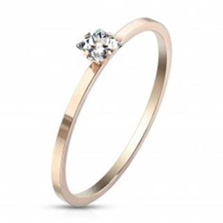 Zásnubný prsteň z ocele medenej farby - číry zirkón v tvare štvorca, lesklý povrch - Veľkosť: 49 mm