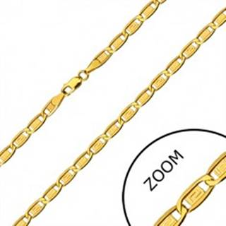 Zlatá retiazka 585 - podlhovasté očká, obdĺžniky s gréckym kľúčom, 600 mm