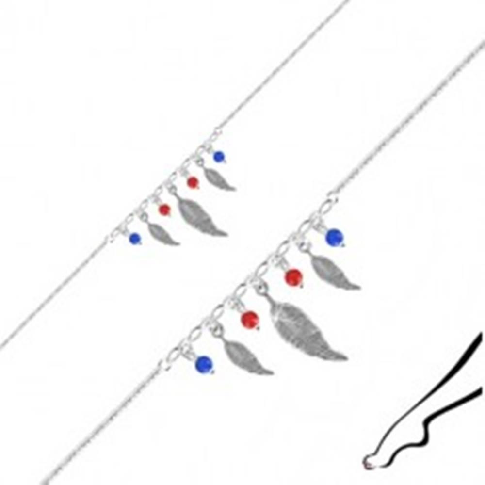 Šperky eshop Náramok na nohu zo striebra 925 - tri pierka, štyri guľôčky červenej a modrej farby