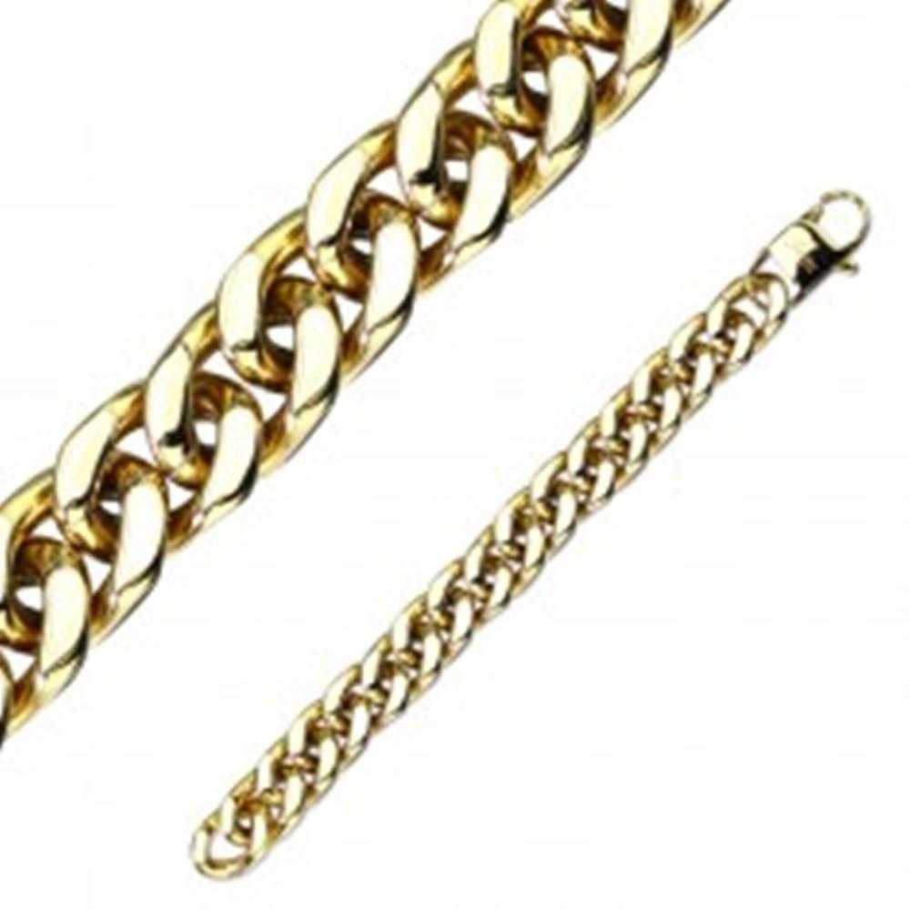 Šperky eshop Oceľový náramok zlatej farby - väčšie oválne očká, sériové napájanie - Dĺžka: 200 mm
