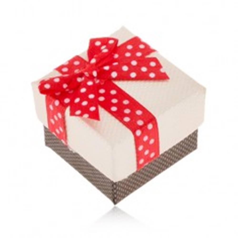 Šperky eshop Béžovo-hnedá krabička na prsteň, červená stuha s bielymi bodkami
