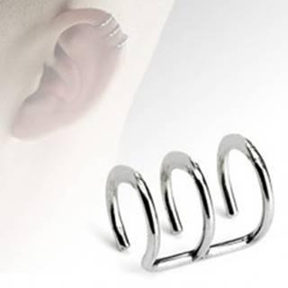 Falošný piercing do ucha z ocele, tri lesklé krúžky