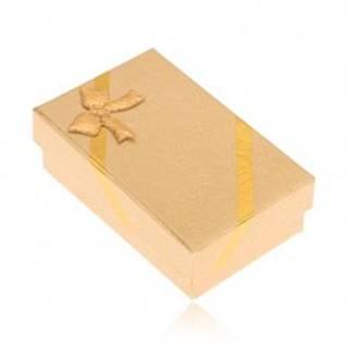 Krabička na náušnice a prsteň, vzhľad tkaniny zlatej farby, mašľa