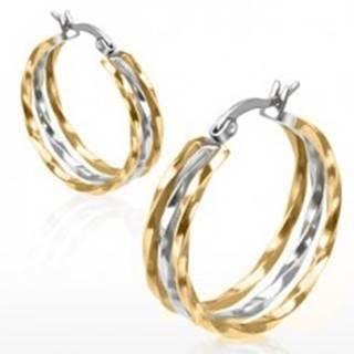 Kruhové náušnice z ocele, zlatý a strieborný odtieň, zvlnené línie