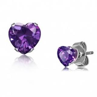 Oceľové náušnice v striebornom odtieni, drobné zirkónové srdce fialovej farby