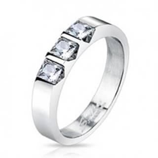 Oceľový prsteň - tri číre štvorcové zirkóny - Veľkosť: 48 mm