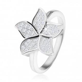 Strieborný prsteň 925, trblietavý zirkónový kvet čírej farby - Veľkosť: 48 mm