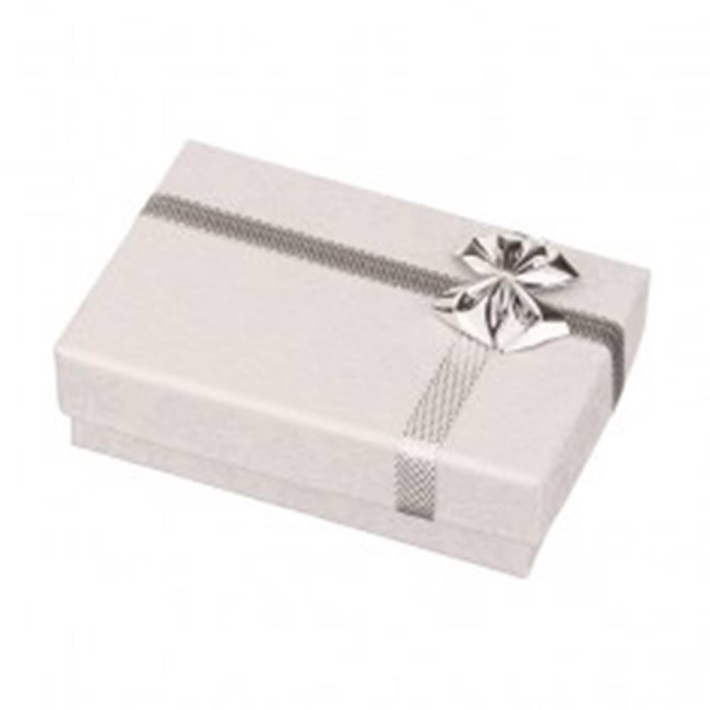 Šperky eshop Krabička na obrúčky - biela s potlačou ružičiek, strieborná mašľa