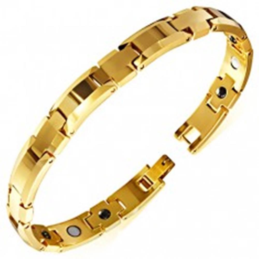 Šperky eshop Lesklý náramok z wolfrámu zlatej farby, skosené okraje, magnetické guľôčky