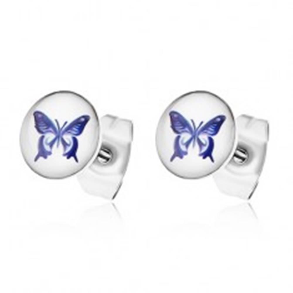 Šperky eshop Náušnice z chirurgickej ocele, biely podklad s fialovým motýľom