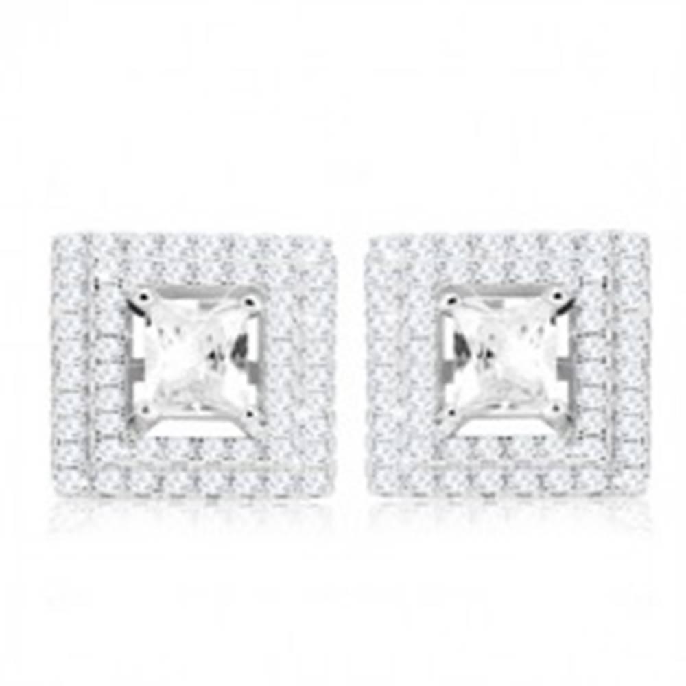 Šperky eshop Strieborné 925 náušnice, štvorcový brúsený zirkón, dvojitý zirkónový lem