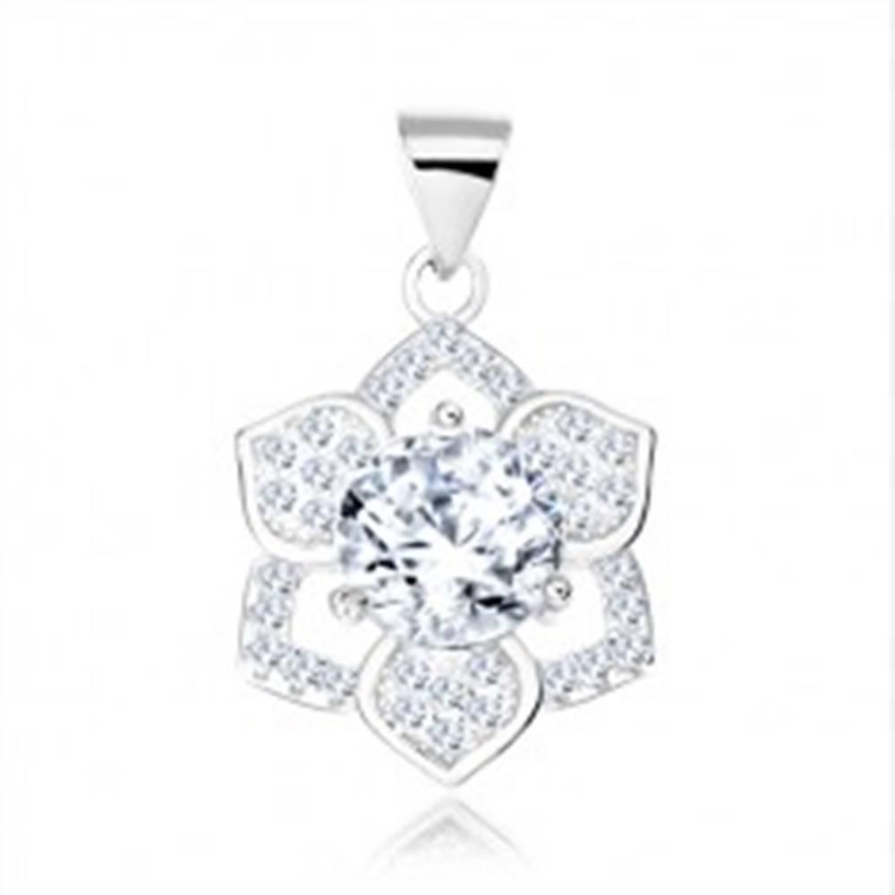 Šperky eshop Strieborný 925 prívesok, okrúhly číry zirkón, ligotavý šesťcípy kvietok