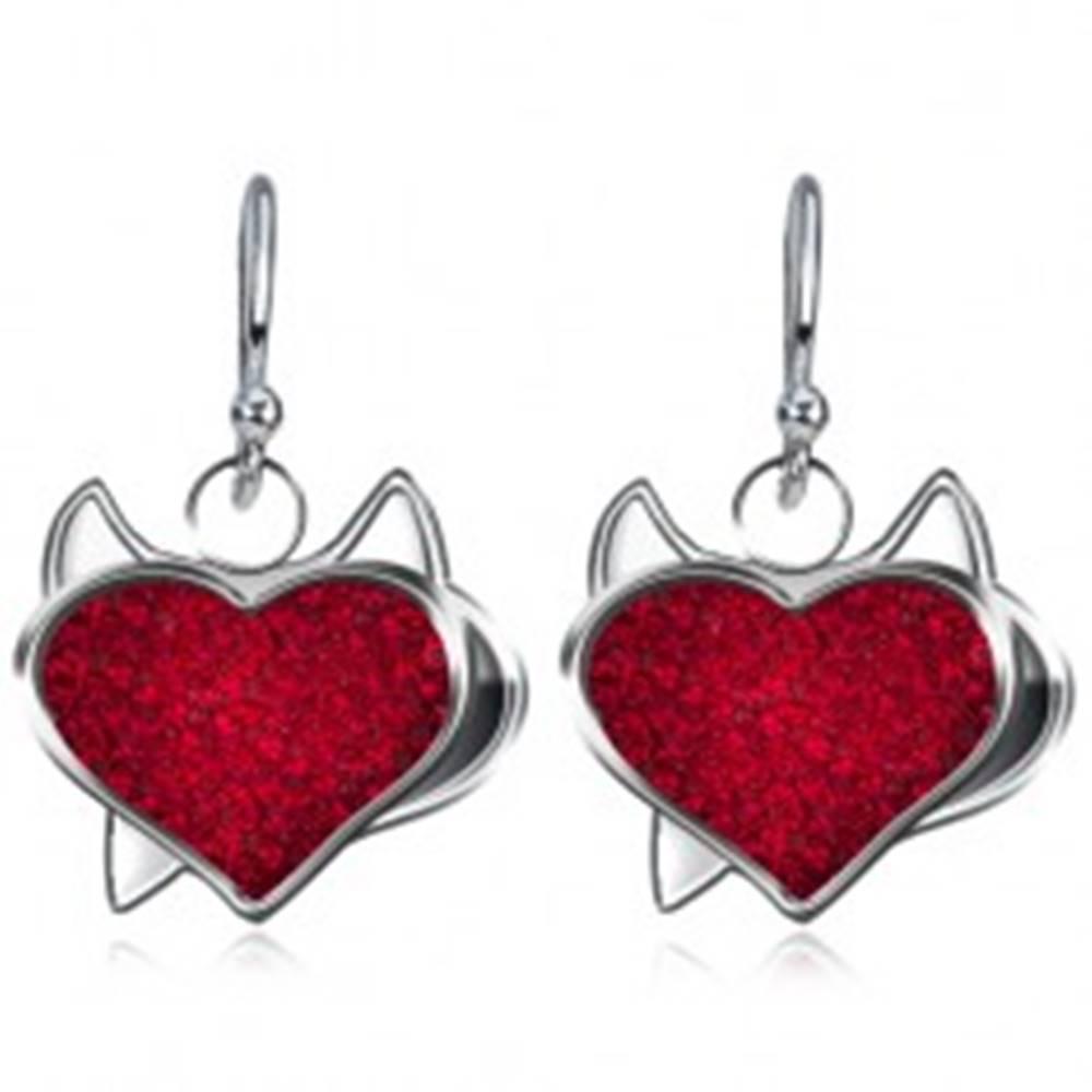 Šperky eshop Visiace náušnice zo striebra 925 - čertovské zirkónové srdce