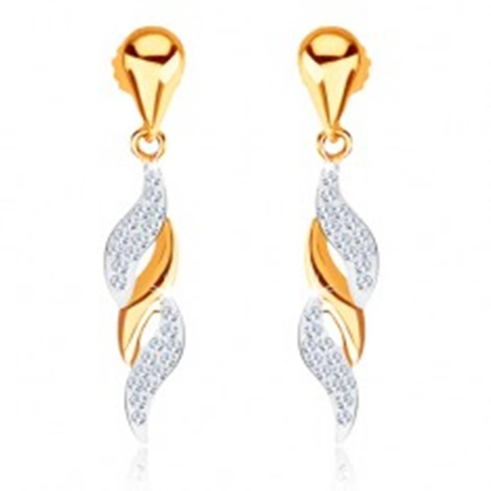 Šperky eshop Zlaté náušnice 375 - vlnky zdobené okrúhlymi čírymi kamienkami