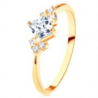 Ligotavý zlatý prsteň 375 - číry zirkónový štvorček, číre zirkóniky po stranách - Veľkosť: 49 mm