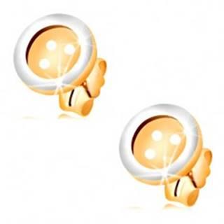 Náušnice v kombinovanom 14K zlate - okrúhly gombík so štyrmi dierkami