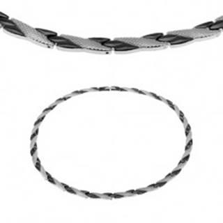 Oceľový náhrdelník, šikmé línie čiernej a striebornej farby, hadí vzor, magnety