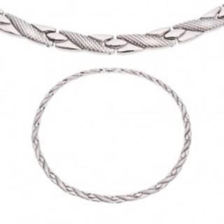 Oceľový náhrdelník, šikmé línie s hadím vzorom, strieborný odtieň, magnety