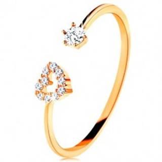 Prsteň v žltom zlate 375 - lesklé ramená ukončené obrysom srdca a čírym zirkónom - Veľkosť: 49 mm