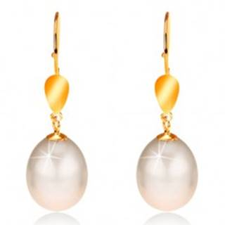 Zlaté 14K náušnice - lesklý ovál, veľká perla smotanovej farby, háčiky