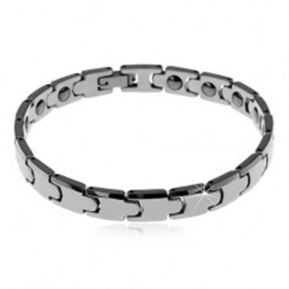 Šperky eshop Náramok z tungstenu striebornej farby, lesklé hladké články - Y, magnetické guličky