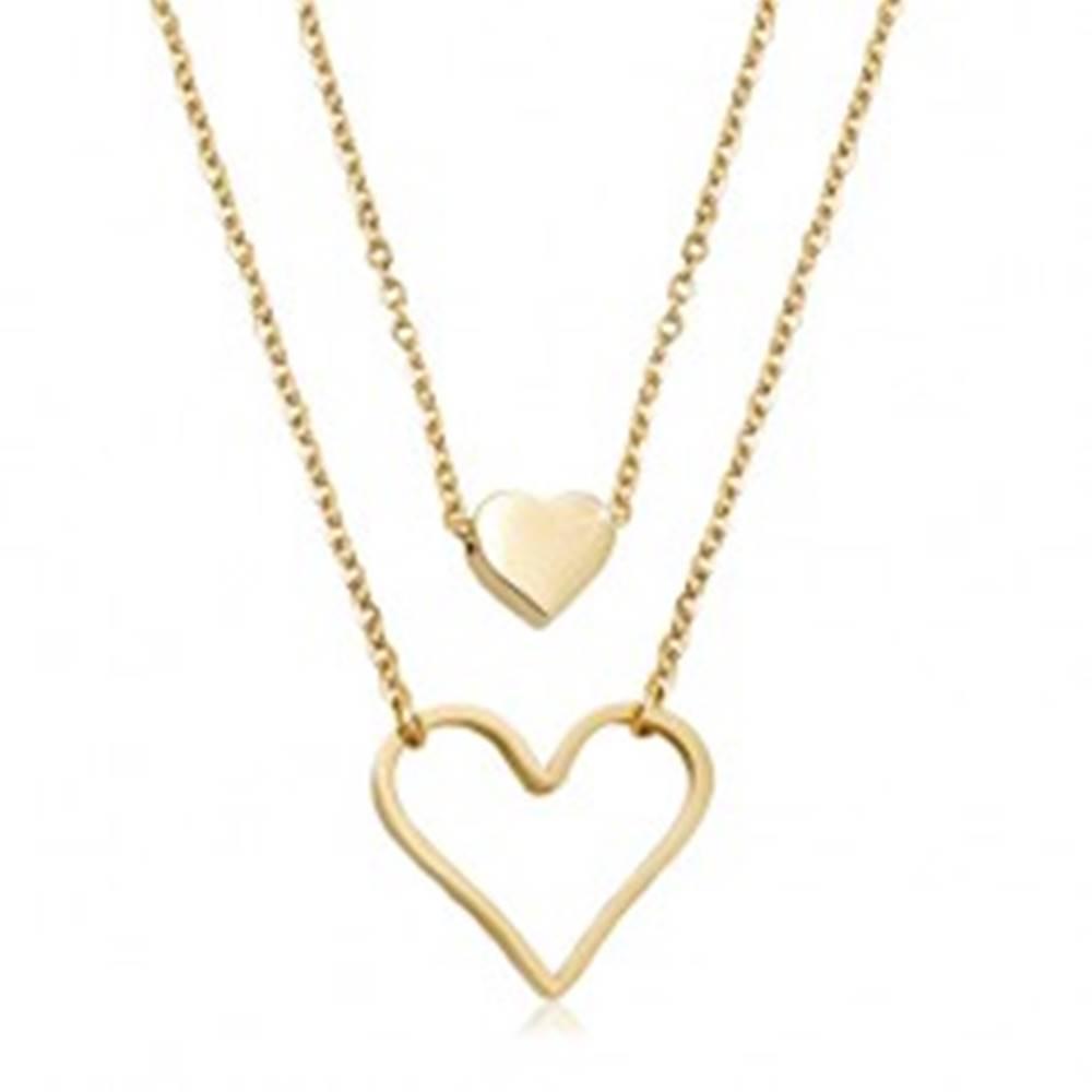 Šperky eshop Oceľový náhrdelník zlatej farby, malé plné srdiečko, veľký obrys srdca, dve retiazky