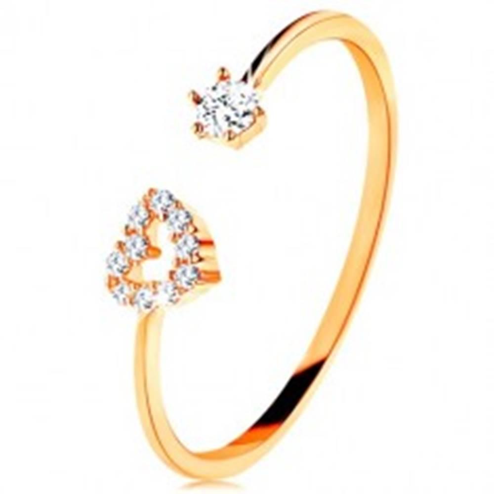 Šperky eshop Prsteň v žltom zlate 375 - lesklé ramená ukončené obrysom srdca a čírym zirkónom - Veľkosť: 49 mm