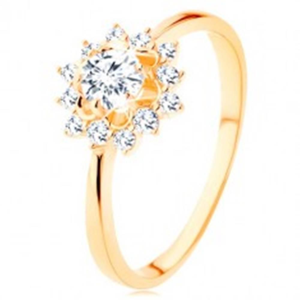 Šperky eshop Prsteň zo žltého 9K zlata - číre zirkónové slnko, lesklé úzke ramená - Veľkosť: 49 mm