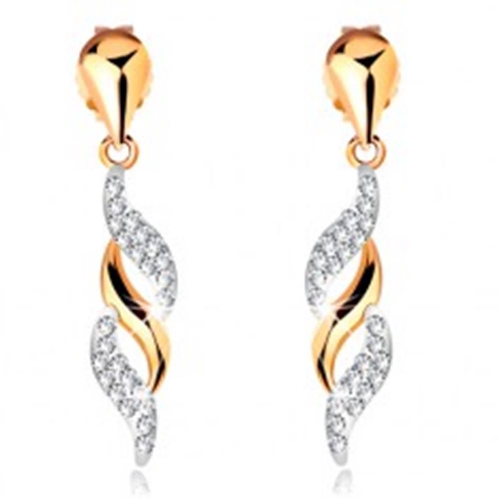 Šperky eshop Zlaté náušnice 585 - ligotavé vlnky visiace na lesklej kvapke, krištáliky Swarovski
