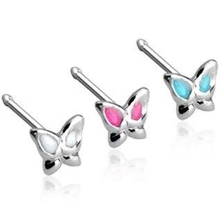 Piercing do nosa rovný motýlik, striebro 925 - Farba piercing: Aqua