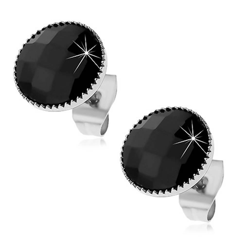 Šperky eshop Náušnice z ocele 316L, čierny kruh s brúseným povrchom a vrúbkovaným lemom