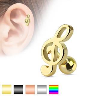 Piercing do ucha z chirurgickej ocele - husľový kľúč, rôzne farebné prevedenie - Farba piercing: Čierna