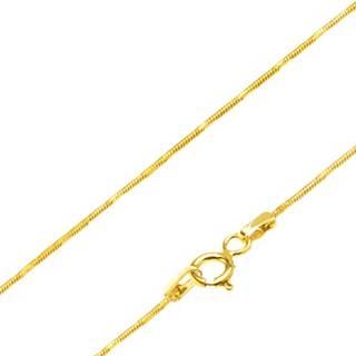 Retiazka zo žltého 14K zlata - články vo vzore hadej kože, ryhy, 450 mm