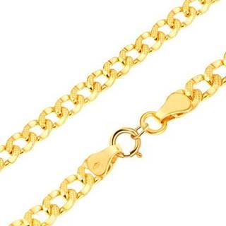 Zlatý náramok 585 - hrubšie oválne očká zdobené drobnými jamkami, 200 mm